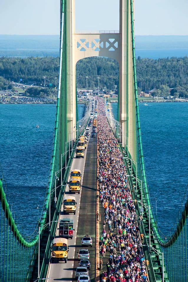Mackinac Bridge Walk - Labor Day, 2016. http://www.mlive.com/news/grand-rapids/index.ssf/2016/09/heres_what_the_labor_day_macki.html