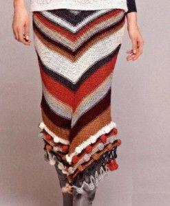 Теплая вязаная юбка фото