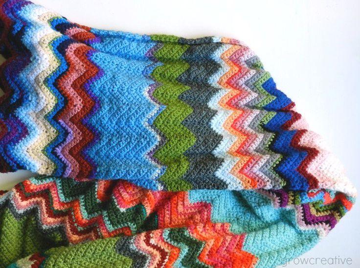Great for scraps... Free Crochet Ripple Chevron Blanket Pattern by Elise Engh: Grow Creative