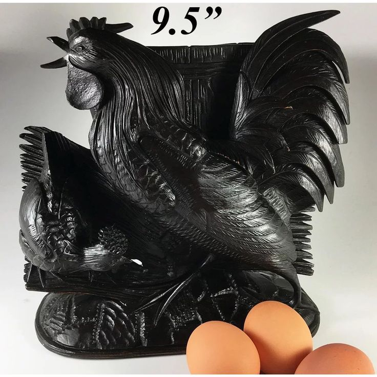 BIG Antique Black Forest Rooster, Hen, Jardiniere or Centerpiece, Hand Carved Wood, 9.5 Tall