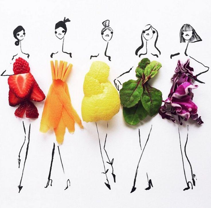 """Papel, nanquim e alimentos. Estes são os três ingredientes básicos das adoráveis ilustrações de Gretchen Röers, designer de moda e produto residente no Vale do Silício, Califórnia. Mesmo trabalhando atualmente como designer de aplicativos para celular, Gretchen não deixa de lado sua paixão por ilustração de moda e diz exercitar a criatividade brincando com comida. Com traços delicados do nanquim, elacomplementa seus desenhos simples e intuitivos com frutas, verduras e legumes. """"Eu uso uma…"""