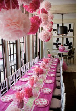 Fuschia And Pink Tissue Paper Pom Poms Hung On Ribbons Look Fantastic Above Your Party