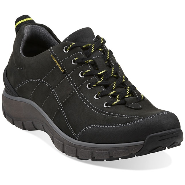 Fully waterproof, this women's leather sneaker in classic black boasts  Clarks walking technology, comfort, and good looks.
