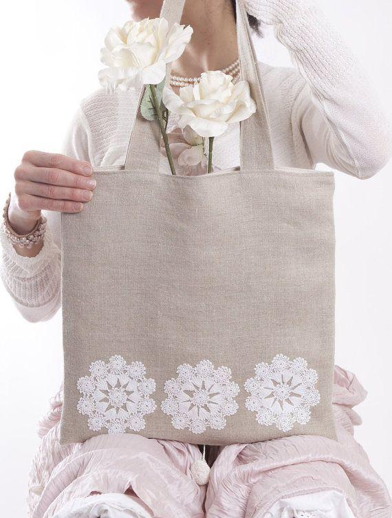 Bolso bolso de lino encaje vintage por WildRoseBags en Etsy