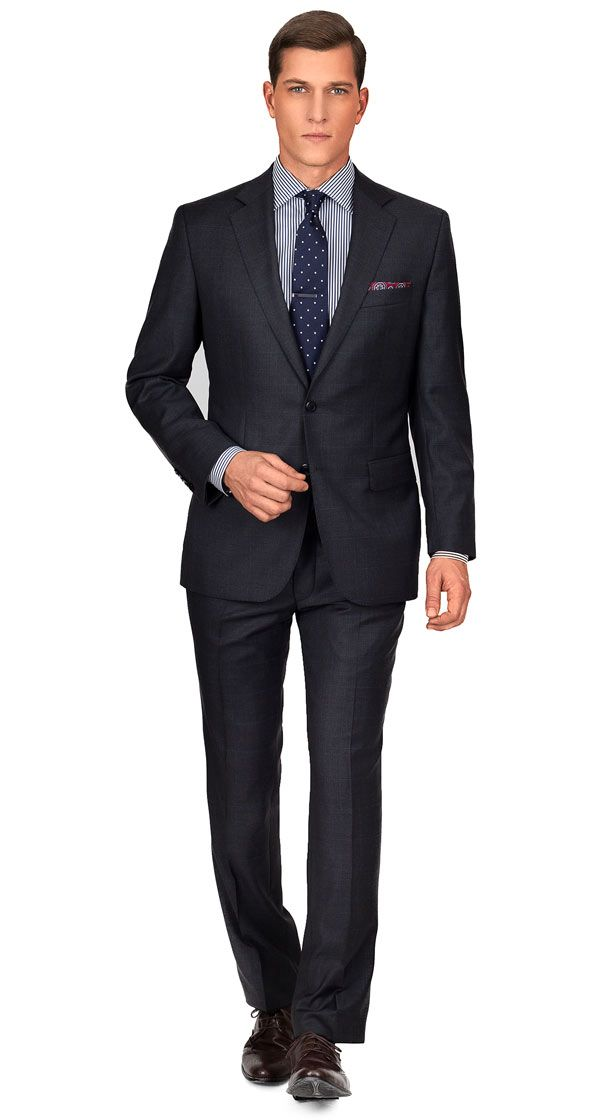 PREMIUM CHARCOAL PLAID SUIT | Super 140s Italian Wool by Angelico |  Tailored in Europe |