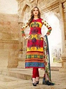 Mayur 01 - Yellow and Red Color Cotton Designer Suit