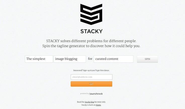 "STACKY wrote a great guest blog explaining how they used #CSS3 to #animate their #LaunchRock #LandingPage    ""STACKY solves different problems for different people. Spin the tagline generator to discover how it could help you!"""