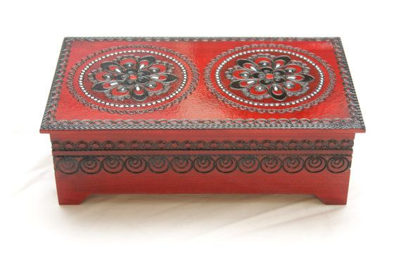 Wooden jewelry box red wood box for keepsakes by PoshCraftPoland
