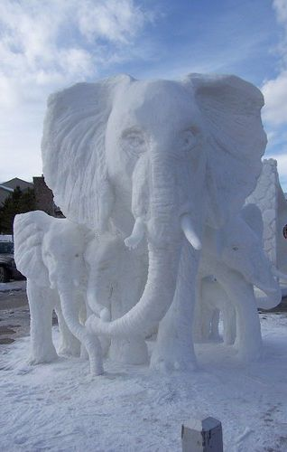 Snow Sculpture of elephants. Please also visit www.JustForYouPropheticArt.com for colorful, inspirational, prophetic art and stories. Thank you so much, Blessings!