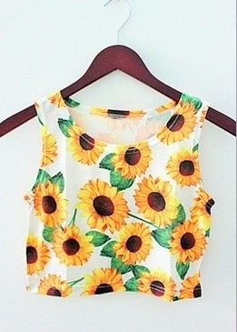 This Sunflower print crop top is really pretty, i don't know where to find this. Great for summer as the vibrant yellow really stands out. It would look nice with a pair of denim shorts!