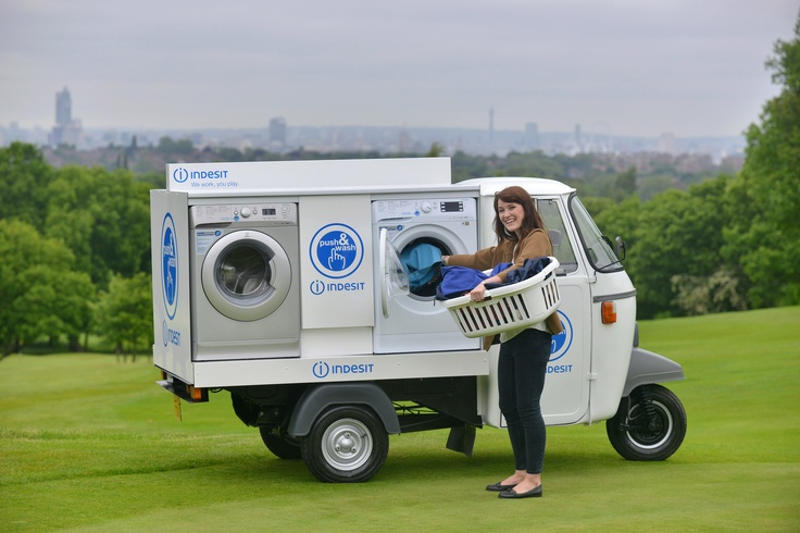 Indesit launch the world's first socially powered mobile laundry service - the Innex 'Push & Wash'. Londoners can tweet #pushandwash this weekend to have their laundry collected from their doorstep