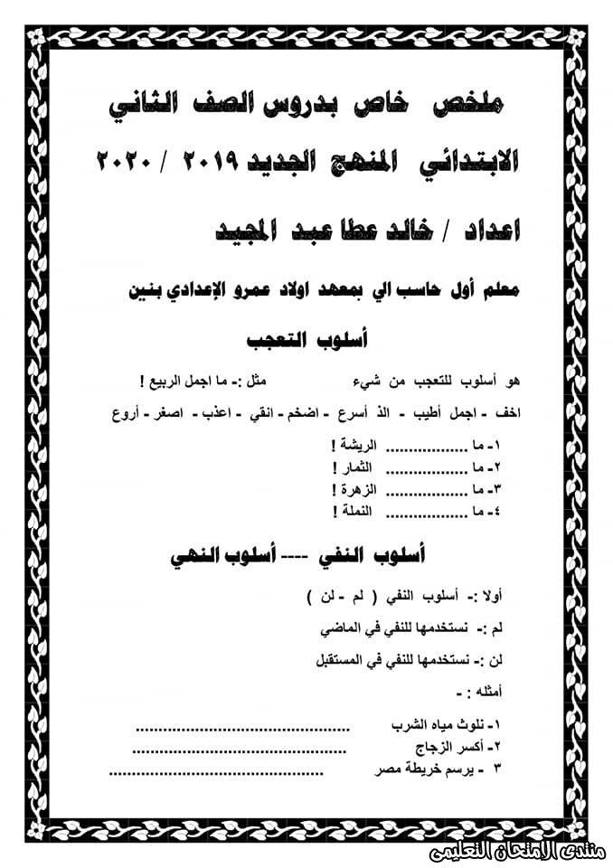 ملخص العربي لتانية ابتدائي ترم ثاني 2020 Math Sheet Music Exam