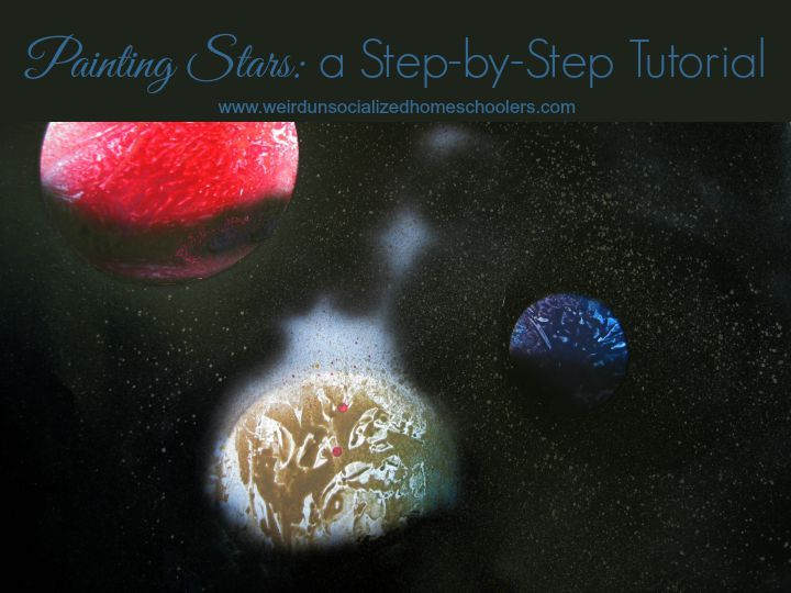 This step-by-step tutorial will have kids painting stars as part of an astronomy study or a Bible study craft project for Psalm 19.