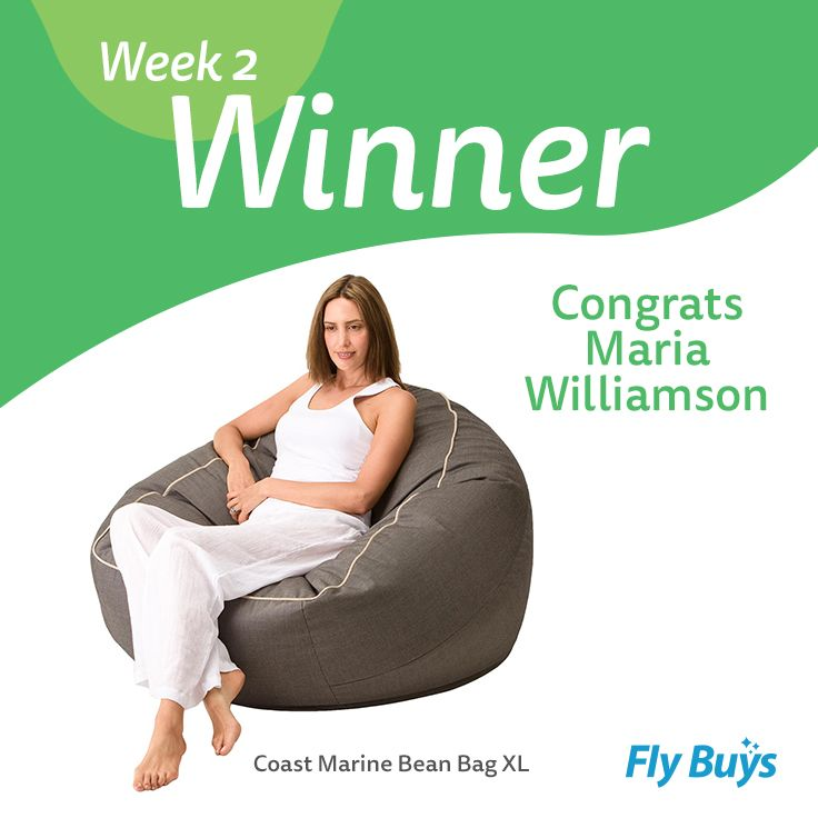 Congrats to Maria Williamson, who is our Design Your Ultimate Lifestyle week two winner! Amy has won herself the Coast Marine Bean Bag XL - enjoy! Remember to keep pinning to be in to win next weeks randomly selected prize!