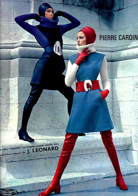 PIERRE CARDIN 60s space age vintage fashions modern mod blue shift dress belted red turtle neck tights boots turban hood color photo print ad models magazine