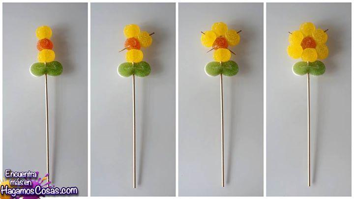 Día del Padre o de la Madre Ideas!!!#diadelpadre Una flor de gomitas :)  Para ver más: https://www.facebook.com/hagamoscosas y dale a me gusta