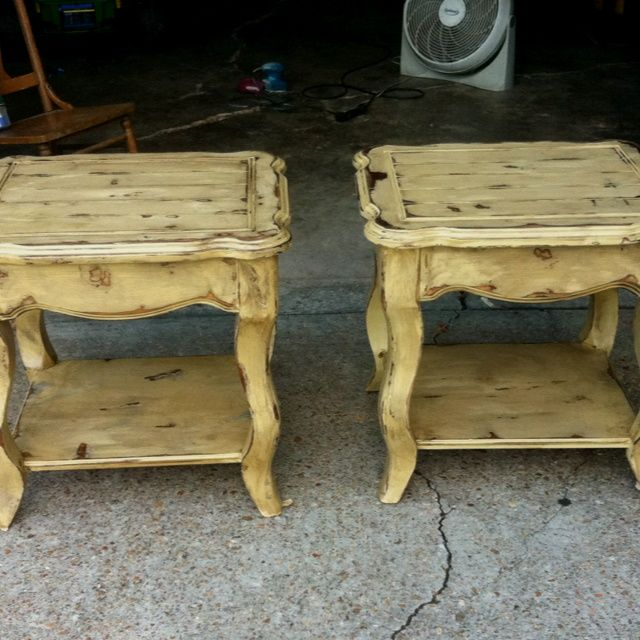 Refinished End Tables   Refinished End Tables   Love The Light Mustard Color !