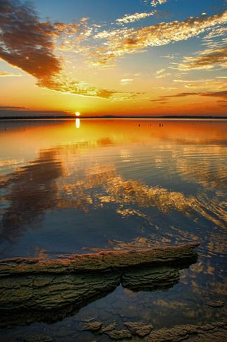The waters of Lake Eufaula reflect a spectacular Oklahoma sunset.