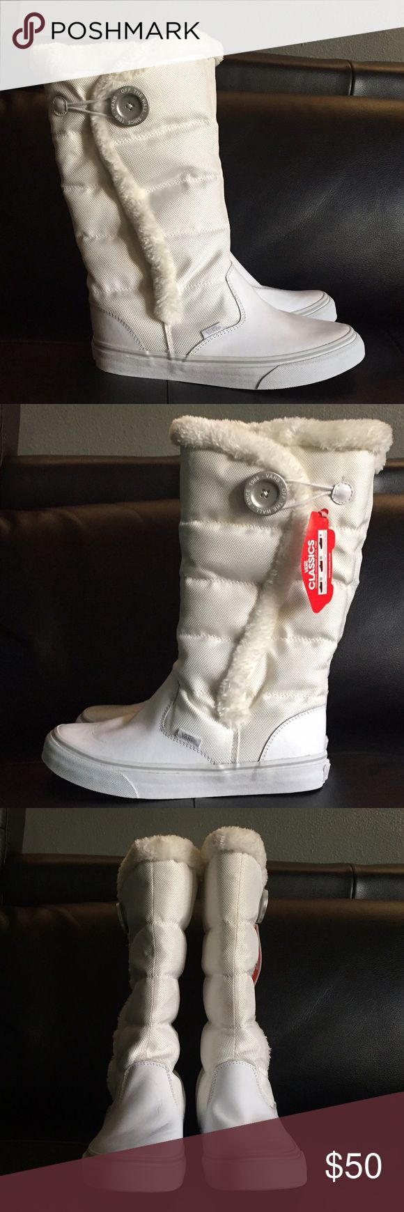 White Vans Boots With Fur Lining White Vans Boots with Fur Lining and Button Closure Women's Size 8 / Men's Size 6.5 Feel Free to Make an Offer! Vans Shoes Winter & Rain Boots