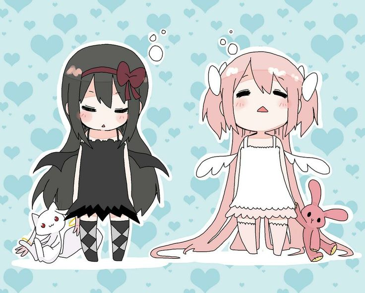 Homura and Madoka. Even Kyubey is tooth-rotting cuteness here.