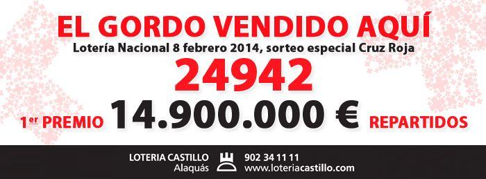 1 premio Sorteo especial Cruz roJA 8-Febrero 2014