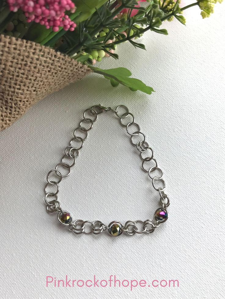 Chain link bracelet with Rainbow Glass Beads -Chain Maille by Pinkrockofhope on Etsy