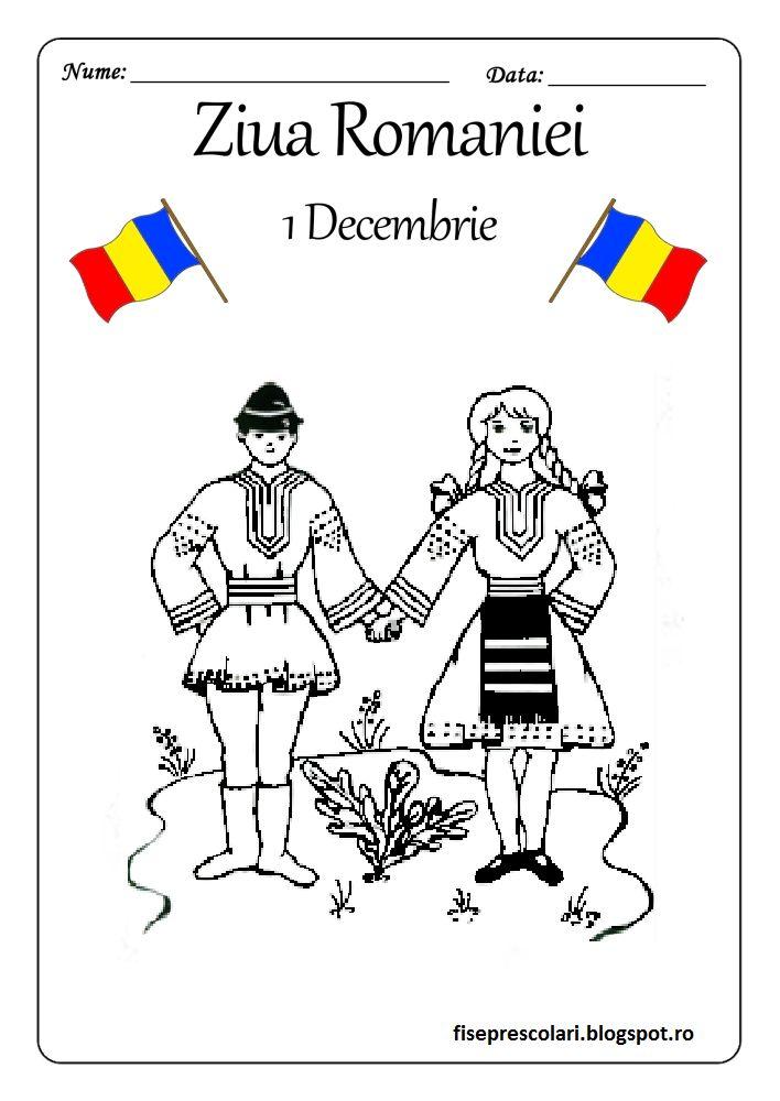 1 Decembrie - Planse de colorat cu Oameni in Costume populare | Fise de lucru - gradinita