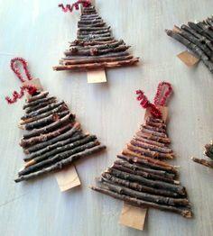 Basteln zu Weihnachten mit Naturmaterialien (Diy Ornaments Wood)
