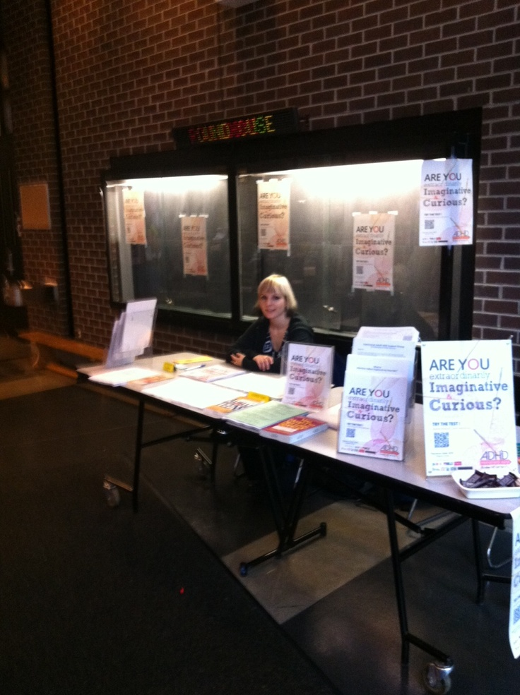 Jade staffing our ADHD info table at The Roundhouse community center in Vancouver BC for ADHD Awareness week. #1 Vancouver Adult ADD Support Group. Photo by Pete
