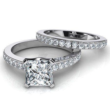 A Perfect 2.3CT Princess Cut Russian Lab Diamond Wedding Ring Bridal Set