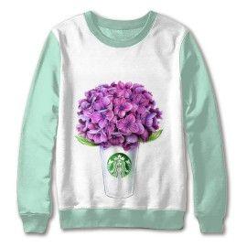 """Свитшот """"Гортензии Starbucks"""" цветные рукава"""
