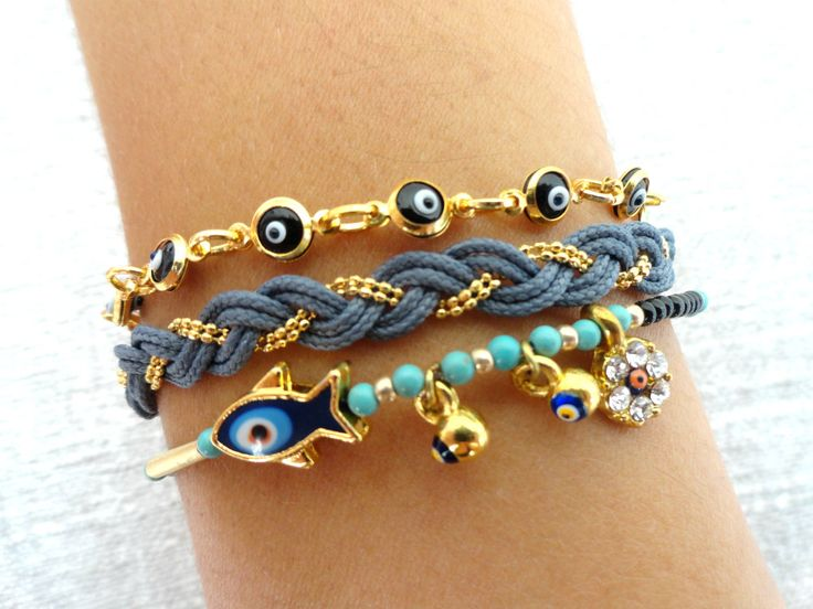 Evil eye bracelet set in gray and black mini evil by Handemadeit