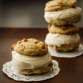 Butterscotch Chip Cookie Ice Cream Sandwich :: The secret to the cookie dough? Cream cheese!