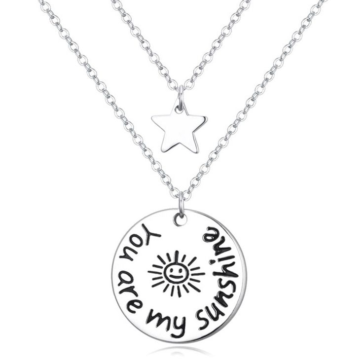 ">> Click to Buy << "" You are my sunshine "" Love Pendant Double Chain Necklace Women Men Jewelry Round & Star Simple Necklace Girl Gifts 3 Options #Affiliate"