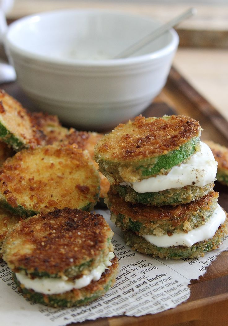 Fried zucchini sandwiches with garlic yogurt