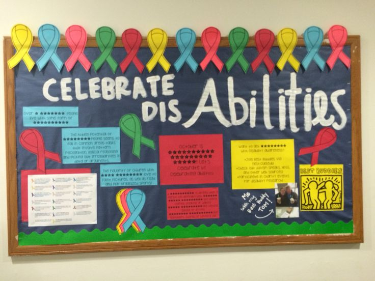 RA Bulletin Board- October is disability awareness month! I did a board about celebrating the abilities of people living with disabilities!