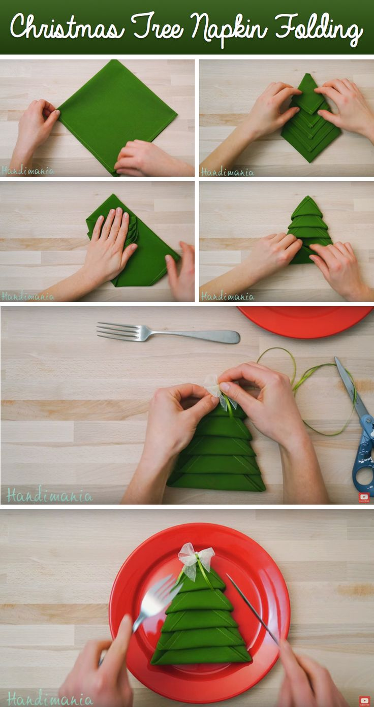 Take Your Table Settings To The Next Level With This DIY Christmas Tree Napkin Folding!