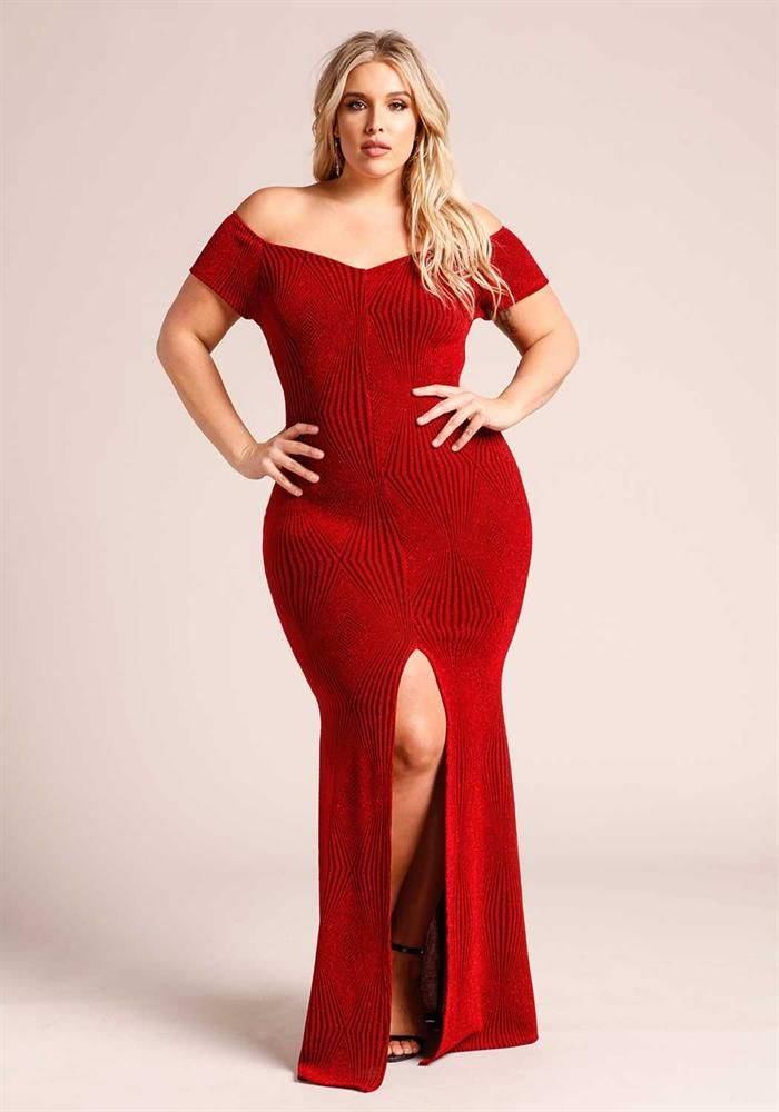 Plus Size Clothing | Plus Size Sparkle Off Shoulder High Slit Maxi ...