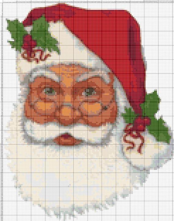 Chart Counted Cross Stitch Pattern Needlework Santa Claus