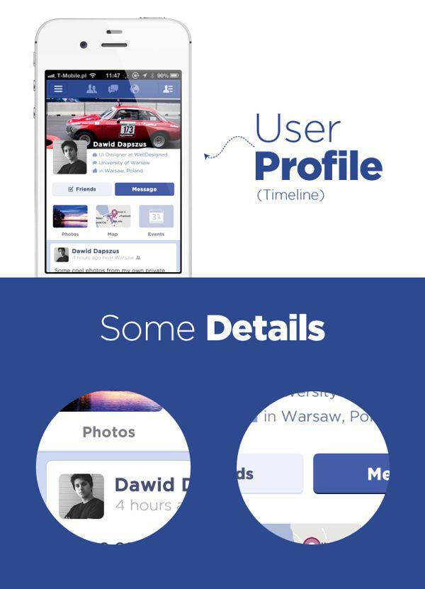 Facebook flat concept by Dawid Dapszus, via Behance