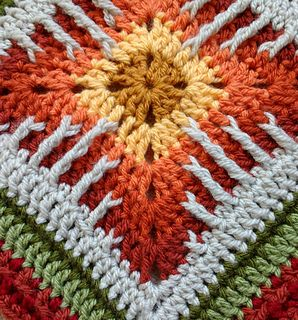 """A unique block designed and classed for 'adventurous intermediate crocheters'. Excellent thicker block for afghans and block exchanges, it includes quite detailed instructions and row by row information. Addendum for 10"""" size included. Recommended for aran weight yarn, could also be made in worsted with modification to border rows, etc."""