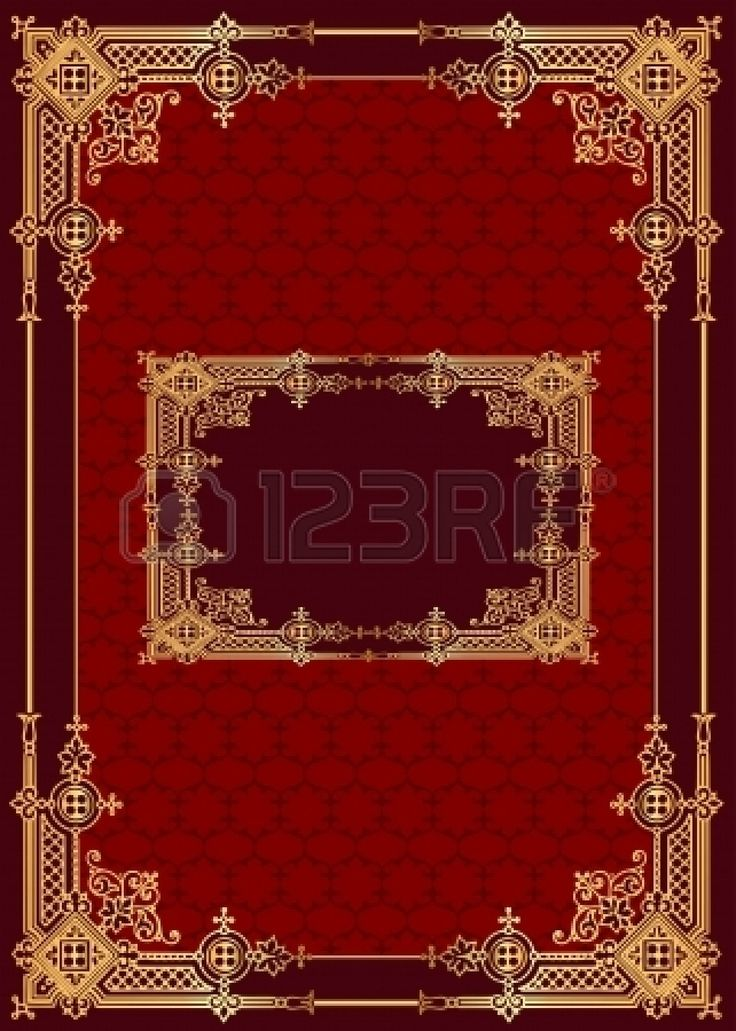 illustration red background with frame with gold(en) pattern Stock Vector - 14471896