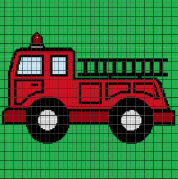 Firetruck Crochet Graphghan Pattern (Chart/Graph AND Row-by-Row Written Instructions)