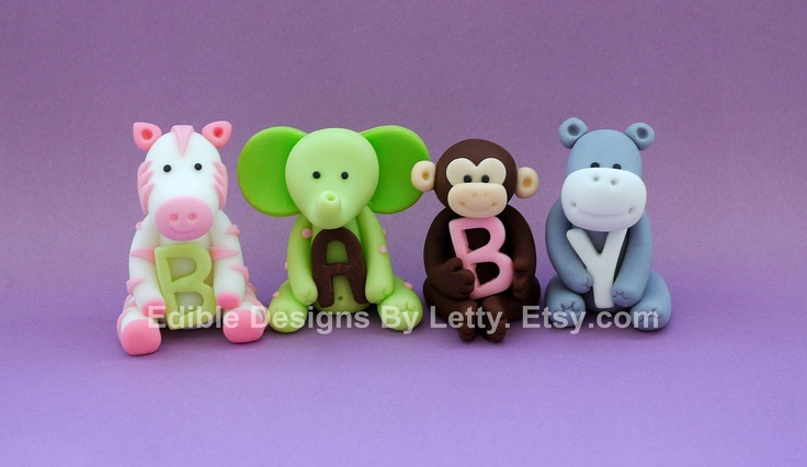 4 edible fondant jungle animals cake cupcake toppers via for Animal cake decoration