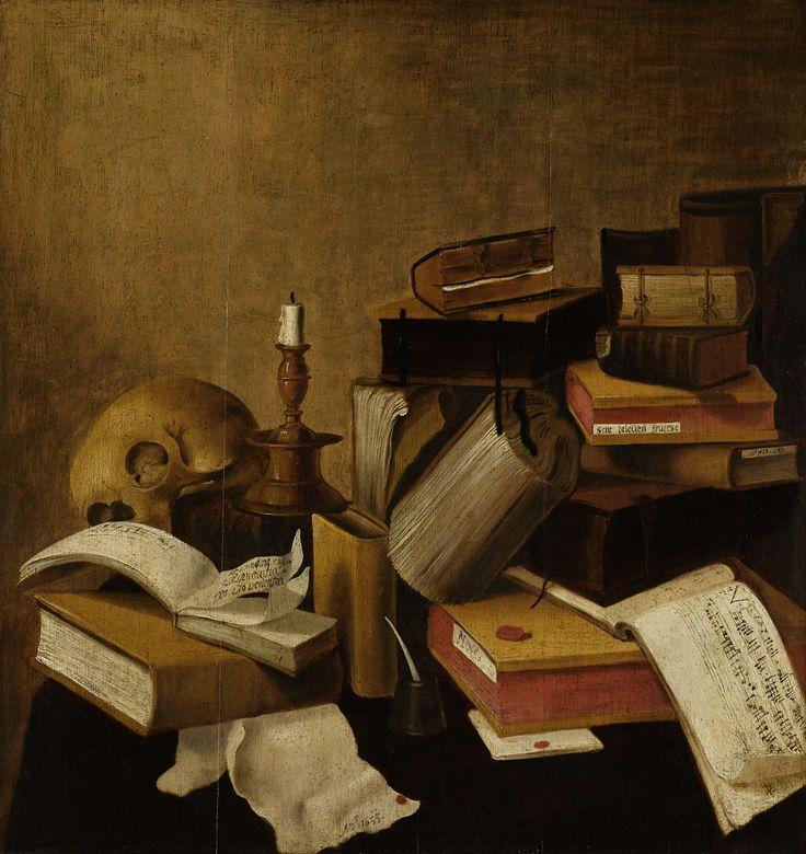 Doodshoofd, een uitgedoofd kaarsje, de vergane boeken