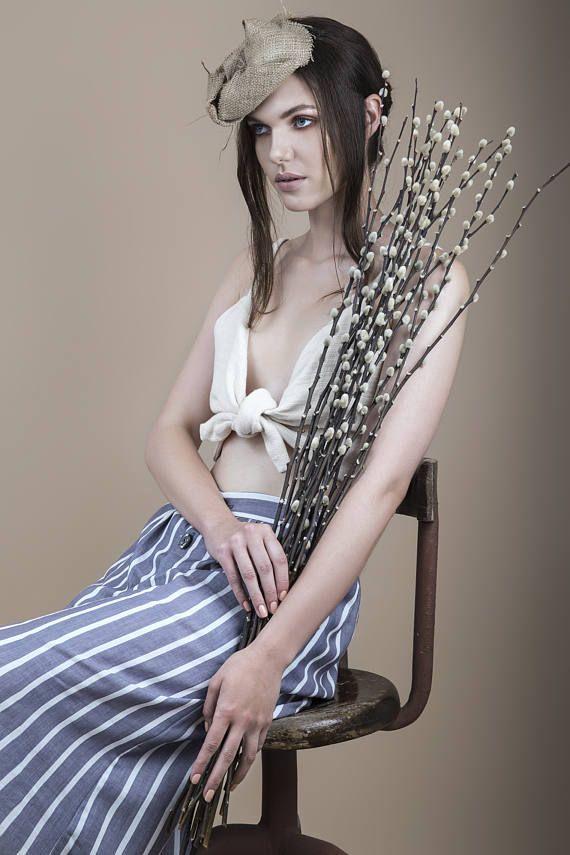 Midi skirt skirt with buttons summer skirt striped skirt