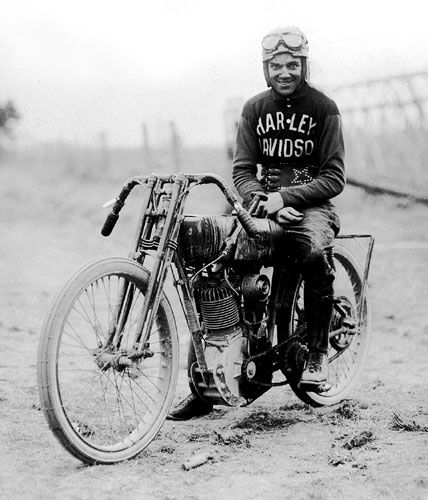 "Early Harley racer Albert ""Shrimp"" Burns.  We love vintage Harley-Davidson pictures! Send us yours on Facebook!"