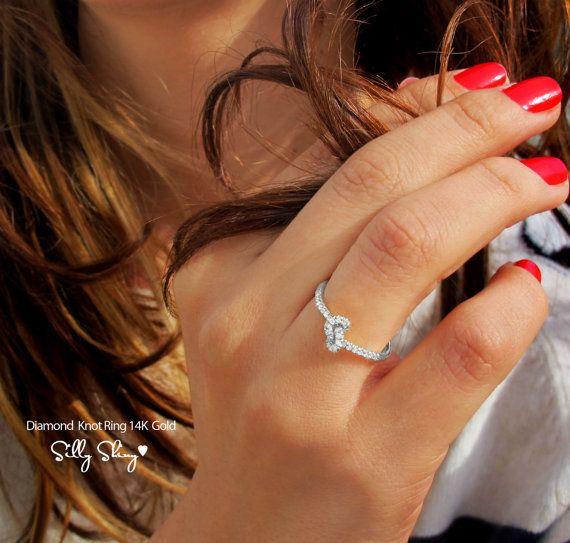 Knot Diamond Ring The Original 14K Gold by SillyShiny on Etsy, $598.00
