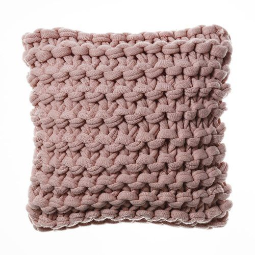 Home Republic Chunky Knit Cushion Pearl Pink, cushions, knit cushion
