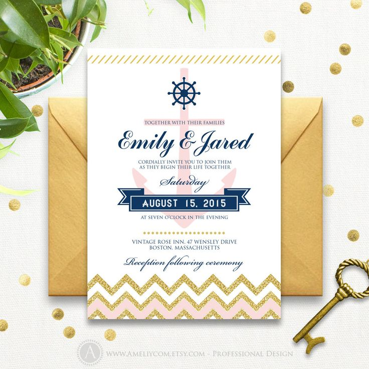 17 best ideas about anchor invitations on pinterest | nautical, Wedding invitations